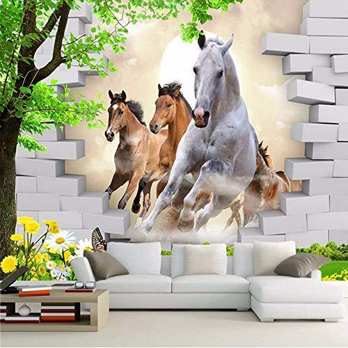 Xzfddn Custom Photo Wallpaper 3D Stereo Horse Broken Wall Mural Brick Wall Paper Living Room TV Hintergrund Wall Painting 3D Home Decor