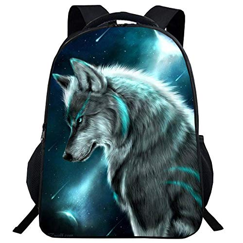 YANJJ Children's Backpack Animal Wolf Print 3D Multi-pocket Polyester Backpack Comfortable Shoulder Straps Suitable For Students Boys And Girls Aged 6-10 6-41 * 30 * 16cm