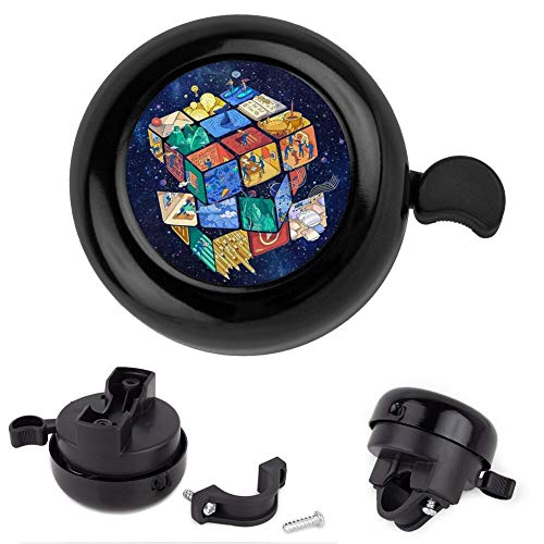 Mojene Bike Bell Aluminum Bicycle Bell Magic Cube Loud Crisp Sound Cycling Bell Handlebars Bell for Kids Adults Girls Boys (Black)