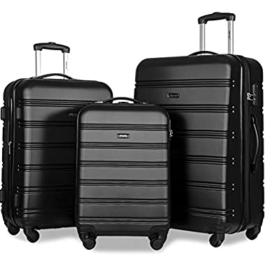 Merax Travelhouse Luggage Set 3 Piece Expandable Lightweight Spinner Suitcase (Black-1)