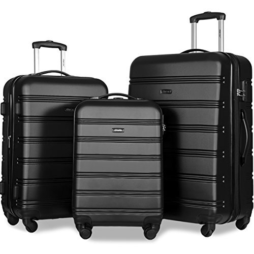 Merax Travelhouse Luggage Set 3 Piece Expandable Lightweight Spinner Suitcase (Black1)