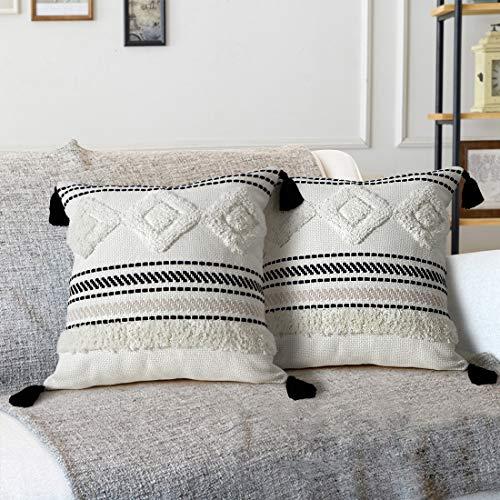 LOMOHOO Getuftete Boho-Kissenbezüge 18X18 Zoll gewebte Bequeme Kissenbezüge mit Quasten Soft Square Kissenbezug für Couch Sofa Schlafzimmer Wohnzimmer