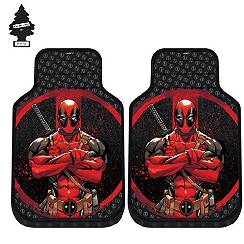 Yupbizauto A Pair Marvel Deadpool Auto Truck SUV Car Front Floor Mats Set with Air Freshener