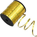 500 Yardas Cinta Rizado, cinta de regalo para rizar, Metálica Cinta de Globos para Envolver Regalos, Fiestas, Decoración de boda, Florista, Festivales, Manualidades, 5mm (Oro)
