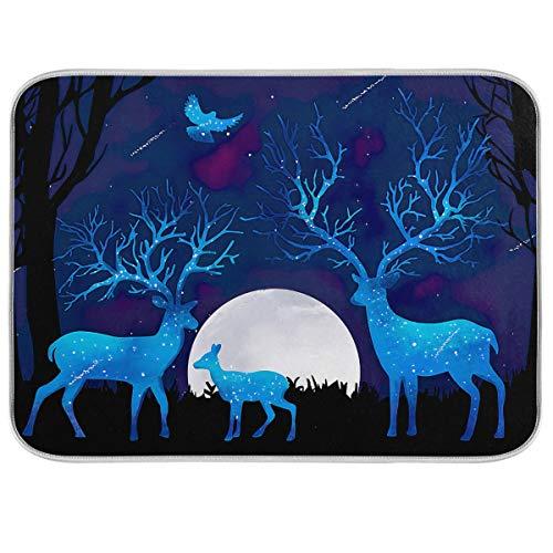 Tapis de séchage pour comptoir de vaisselle famille de cerfs en cristal 40,6 x 45,7 cm