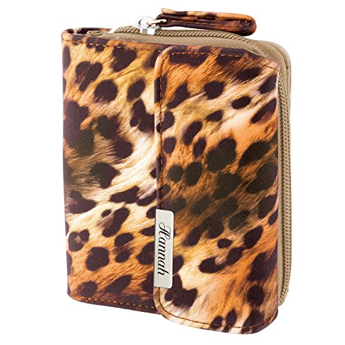 Cadenis Damen-Geldbörse Leoparden-Muster mit persönlicher Laser-Gravur Geldbeutel orange Hochformat 13,5x10,5cm