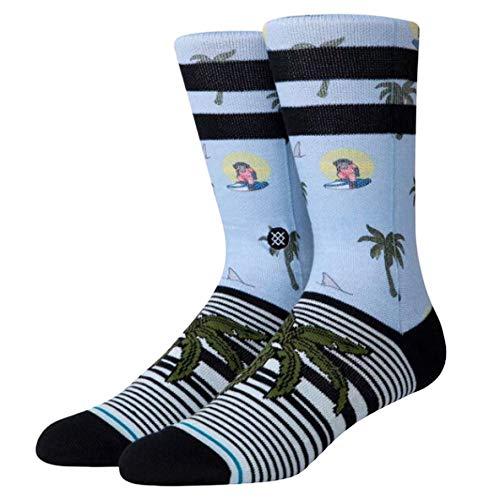 Stance Crew Sock Aloha Monkey ST Calcetines, azul claro, M para Hombre