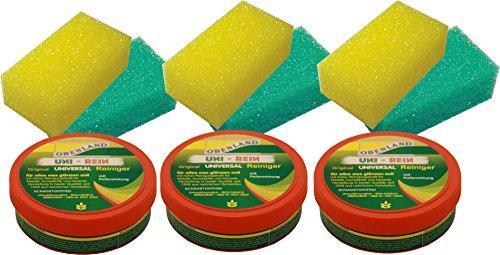 Obenland UNI-REIN - Original Obenland Universalreiniger 3 x 300 gramm inkl. 6 Schwämmen (grün/gelb)
