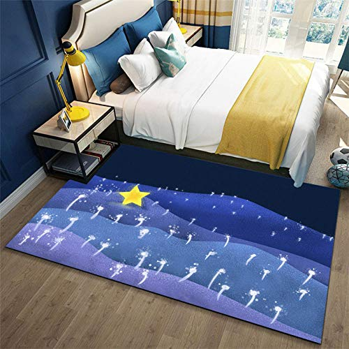 Alfombra De áRea Estrellas Fluorescentes Amarillas Azules Negras Alfombra Antideslizante alfombras Salon...