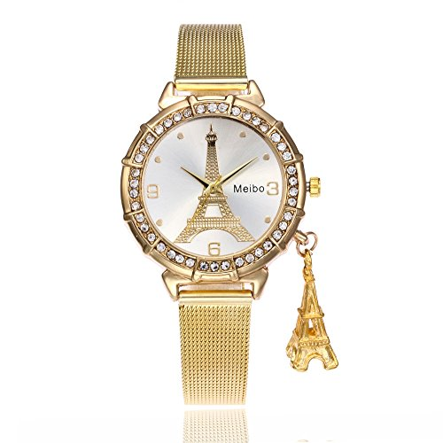 Armbanduhr Damen Mode Style Damen Case Damen Strass Armbanduhr Quartz Analog Band Runden Stil Zifferblatt Wrist Die Eiffelturm Strass Anhänger Armbanduhr Armband Neuer (A)