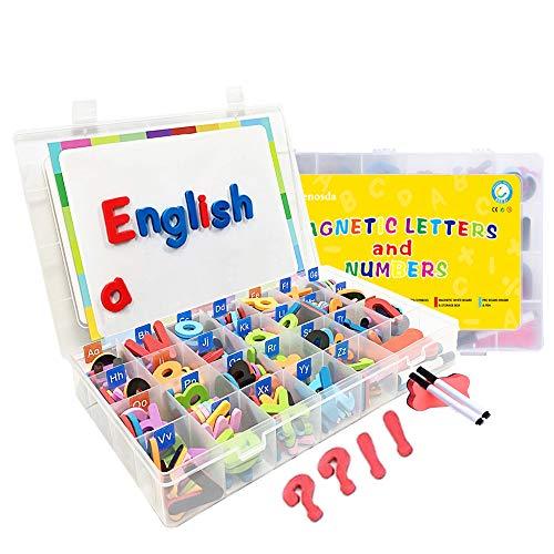 Wenosda 220pcs Magnetbuchstaben & Zahlen für Kinder, Lernmagnete Spielzeugset mit kleinem und großem Alphabet Buchstaben Magnetspielzeug + Symbole + Brett + Stift + Radiergummi für Kinder Kleinkinder