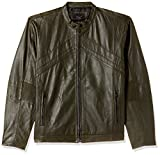 Jack & Jones Men's Leather Jacket (1983708003_Forest Night_Large)