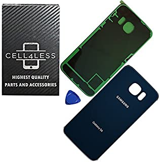 CELL4LESS Replacement Back Glass Cover Back Door w/Pre-Installed Adhesive Compatible with The Galaxy S6 OEM - All Models G920 All Carriers- 2 Logo (Sapphire)