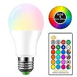 AEUWIER Bombilla de luz que cambia de color,E27 10W Cool White Edison Screw RGBW Bombillas de luz LED con control remoto de 24 teclas,función de memoria,16 colores ajustables(equivalente a 65W)