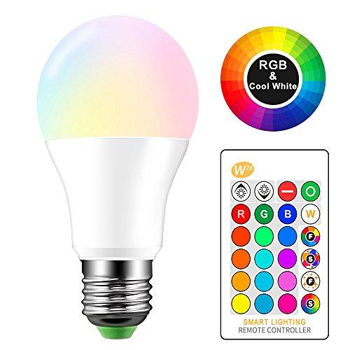 ONEVER 10W RGBW LED Farbwechsellampe E27 Atmosphäre Beleuchtung LED Lampe Blitzlicht Fade Mode Bar KTV Dekorative Beleuchtung RGB + Cool White [Energieklasse A ++] (1pcs)