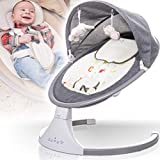 Babyschaukel (vollautomatisch 240V) mit Baldachin Musik über USB Anschluss 12 Melodien 5 Schaukelintensitäten Timerfunktion und Fernbedienung (Melange Grau)