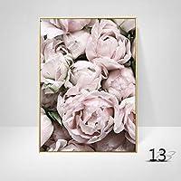 ピンクの壁のアートの家の装飾牡丹の花ポスター写真ポスターキャンバスアートノルディックデコレーションリビングルームモダンアート絵画 (Color : 13, Size : 60x90cm No Frame)