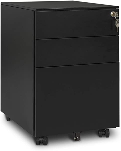 DEVAISE Metal Mobile File Cabinet With Lock 3 Drawer Black