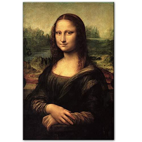 Xnhui Mona Lisa Sonríe Aceite del Retrato De La Pintura De Reproducciones De Cuadros Famosos Clásica De Leonardo Da Vinci For Decorar El Alarde TX Salón (Color : No Frame, Size (Inch) : 50x75cm)