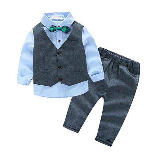 Boys 3Pcs Clothing Sets Cotton Long Sleeve Bowtie Shirts +Vest +Pants Casual Suit(5T)