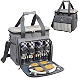 Insulated Cooler Tote Bag for Picnic Lunch with 4 Tableware Set Outfit