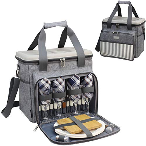 HappyPicnic Filled Picnic Bag for 4 Persons,Picnic Set with Hard Eva-formed Lid Used as A Picnic Table(Brushed Grey Twill)