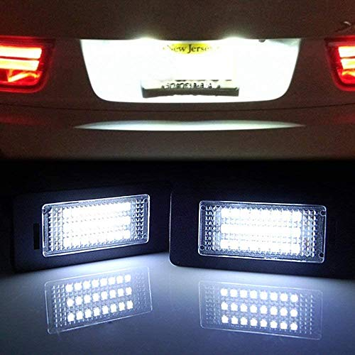 MAXHAWK Super Bright 24 LED License Plate Light Replacement for BMW 1/2/3/4/5/X Series X5 X6 M3 M4 E39 E60 E70 E71 E82 E90 E92 F32 F35 6000K White Error Free Rear Number Plate Tag Lamp