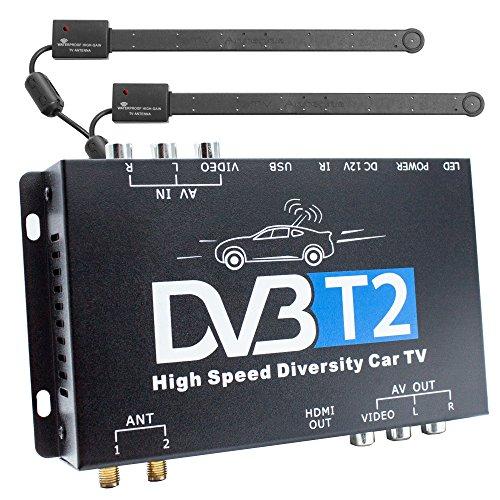 Xomax DVB-T2 receiver voor auto's, H.265 HEVC, tv-box met 12 V werking, dual tuner met 2 actieve antennes elk 20 dB, tot 160 km/h, HDMI-USB-aansluitingen, Full HDTV, PVR-opnamefunctie