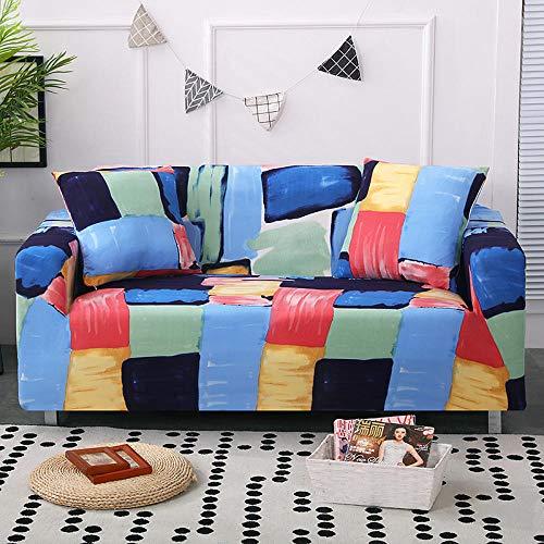 HTEZGDB - Universele bankhoes Stretch Sofa Cover Sofa Arm Protector Covers, Zacht en Comfortabel Bescherm de Bank (2 zits: 145-185cm, Doodle Square, Multicolor)