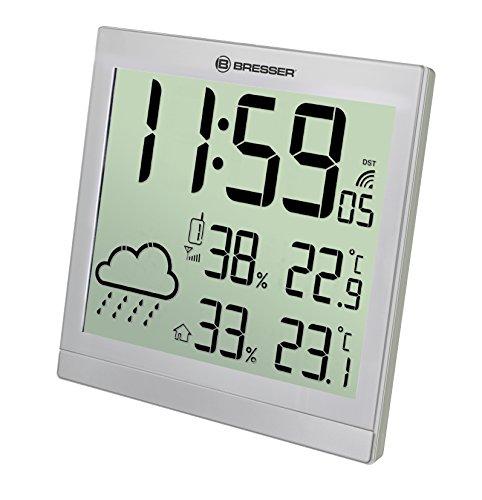 Bresser Wanduhr Wetterstation Funk mit Außensensor TemeoTrend JC mit DCF Funkuhr mit großer Anzeige für Temperatur und Luftfeuchtigkeit für Tisch oder Wandmontage inklusive Wettertrendanzeige, silber