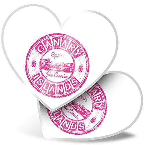 Impresionante 2 pegatinas de corazón de 15 cm – Islas Canarias Rosa Islas Canarias Islas Canarias Divertidas calcomanías para portátiles, tabletas, equipaje, libros de chatarra, frigorífico, regalo genial #19492