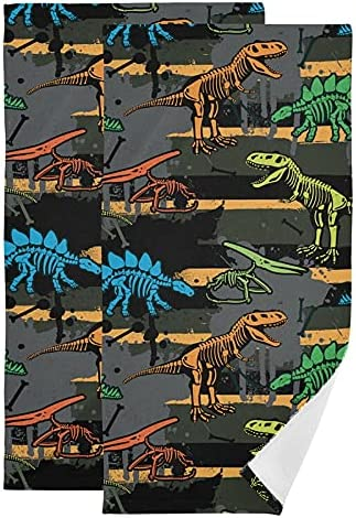 2 Pack Dinosaur Skeleton Kitchen Towels Pattern 67% OFF of Denver Mall fixed price Set Grunge Dish