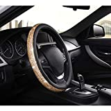 AUTOYOUTH Bling Crystal Studded Rhinestone Steering Wheel Cover for Women, Anti-Slip, Thick, Elegant, Excellent Grip, Nontoxic, Standard Size 14.5 to 15 inch (Gold)