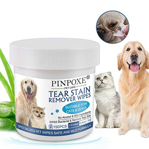 Toallitas para Perros y Gatos, Pet Wipes, Toallitas húmedas para Mascotas, Toallitas Limpiadoras para los Ojos de Perros y Gatos, limpie las lágrimas y el moco en los ojos de las mascotas, 150 Pcs