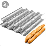 2 Pack Nonstick Perforated Baguette Pan 15' x 13' for French Bread Baking 4 Wave Loaves Loaf Bake...