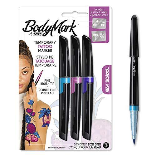 BodyMark by BIC - Marcadores y Plantillas para Tatuajes Temporales, Kit New School, Pack de 3+2, Multicolor