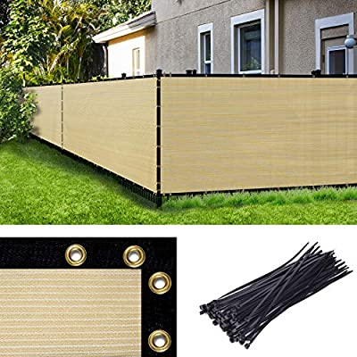 Amgo 6 ft Green Fence Privacy Screen Windscreen,with Bindings & Grommets, Heavy Duty for Commercial and Residential, 90% Blockage, Cable Zip Ties Included, (Available for Custom Sizes)