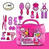 EQLEF 4 + Girls Pink Simulación peluquería cosméticos belleza maleta juguete Set -17PCS Role-playing