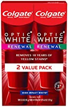 Colgate Optic White Renewal Teeth Whitening Toothpaste, High Impact White, 3 ounce, 2 Pack