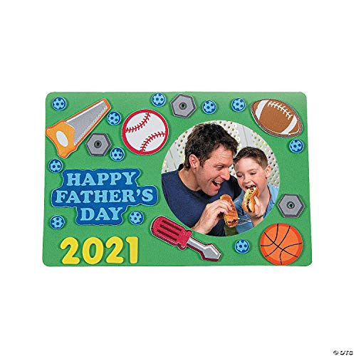 Fun Express 2021 Fathers Day Picture Frame Craft Kit (Makes 12) Great Gift for Kids