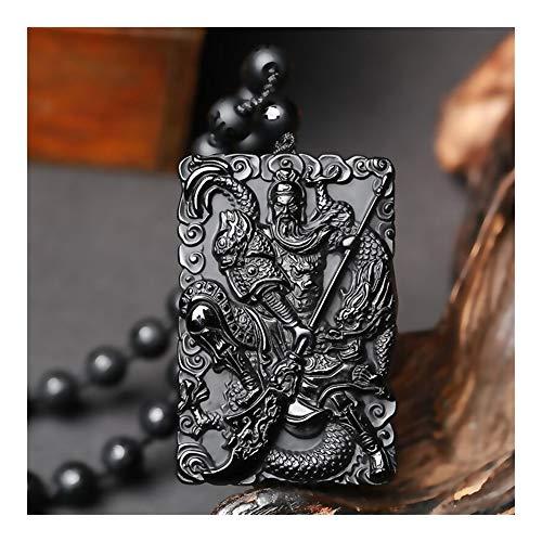 Tallada A Mano Negro Natural Cuentas De Obsidiana Collar Joyería Guan Yu Jade Colgante Encanto De La Manera For Los Regalos Hombre Auspicioso Amuleto