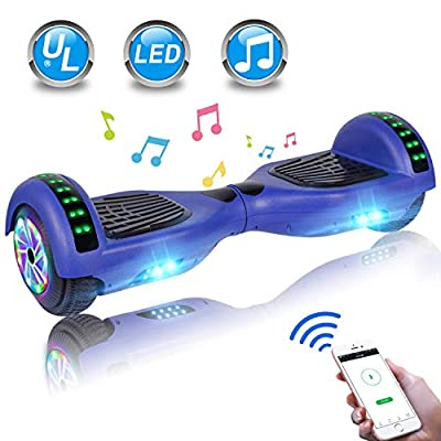 "UNI-SUN Hoverboard for Kids, Self Balancing Scooter 6.5"" Two-Wheel Self Balancing Hoverboard with Bluetooth and Lights (Bluetooth Blue)"