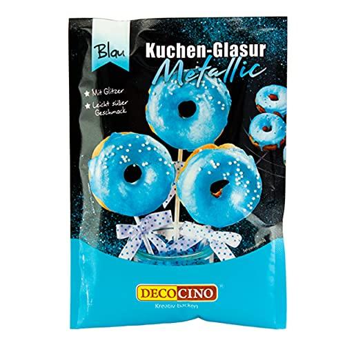 Decocino MetallicKuchenglasur Blau – fertige KuchenGlasur zum Anrühren für Torten Cupcakes und Cake Pops – ohne Palmöl und laktosefrei, 65 gramm