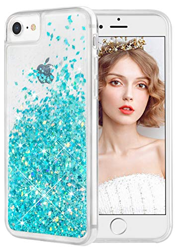 WLOOO Cover per iPhone SE 2020, iPhone 6/6s/7/8 Cover, Glitter Bling Liquido Custodia Sparkly Luccichio Ragazze Donne TPU Silicone Protettivo Morbido Brillantini Quicksand Case (Teal)