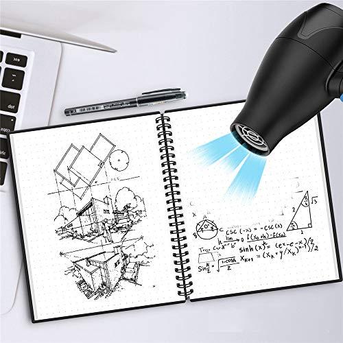 WSKL Cuaderno Inteligente Reutilizable Espiral borrable A5 B5 Diario Cuaderno Espiral Carpeta de Anillas Cuaderno de Bolsillo Borrado Bloc de Notas Diario de Balas