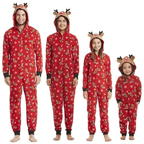 Loozykit Familien Weihnachten Pyjamas Set Schlafanzug Jumpsuit Hoodie mit Kapuze Schlafanzüge Overall Hausanzug Nachtwäsche für Damen Herren Kinder (Rot-Damen,M)