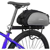 Eshow 18L Alforjas para Bicicleta Sill/ín Bolsa con Cubierta Impermeable Asiento Trasero de Portaequipajes Monta/ña Cycling Ciclismo Viaje Negro