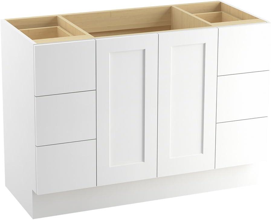 Kohler 99535 Tk 1wa Poplin 48 Inch Vanity With Toe Kick 2 Doors And 6 Drawers Linen White Amazon Com