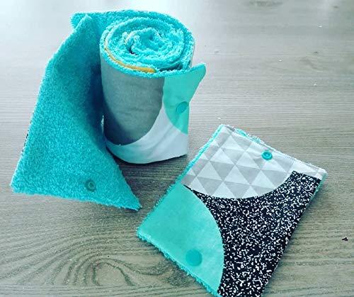 papier toilette lavable, en coton et éponge, zéro déchet, motif blanc turquoise et noir,idée cadeau, fait main, zéro waste