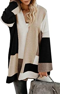 Womens Color Block Open Front Long Sleeve Kint Cardigan Sweaters Drape Coats